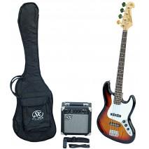 SX SB1 Bass Guitar Kit 3 Tone Sunburst Basszusgitár szett