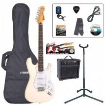 Encore EBP-E6VW Outfit Vintage White elektromos gitár szett