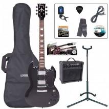 Encore EBP-E69BLK Outfit Gloss Black elektromos gitár szett