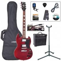 Encore EBP-E69CR Outfit Cherry Red elektromos gitár szett