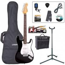 Encore EBP-E6BLK Outfit Gloss Black elektromos gitár szett