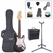 Encore EBP-E375BLK 3/4 Outfit Gloss Black elektromos gitár szett