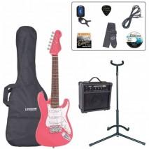 Encore EBP-E375PK 3/4 Outfit Pink elektromos gitár szett