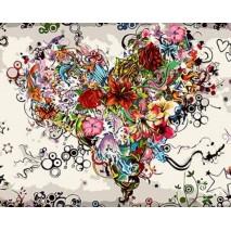Virágok szíve számfestő készlet , festés számok szerint