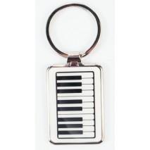 Zongorabillentyű mintájú fém kulcstartó