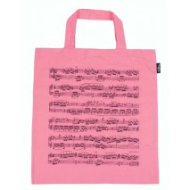 Rózsaszín kottamintás táska