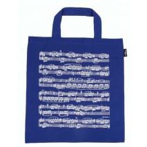 Kék kottamintás táska