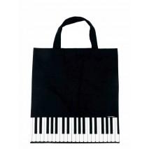 Fekete, zongorabillentyű mintás táska