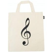 Fehér violinkulcs mintás táska