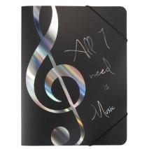 Ezüst színű feliratos és violinkulcs mintás gumis mappa